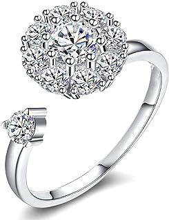 Cathercing Leuke roterende ring voor vrouwen en meisjes Bohemian Knuckle Rhinestone Ring voor tieners gezamenlijke knoop v...