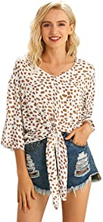 AILMY Womens Round-Neck Loose Printed Henley Short-Sleeved Irregular Casual Flowy T-Shirt Tops