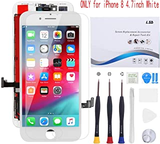 for iPhone 8 Screen Replacement 4.7 inch White, Compatible with iPhone 8 LCD Display Digitizer Frame Assembly Full Set wit...