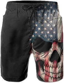 American Flag Patriot Skull Men's Quick Dry Beach Board Shorts Swim Trunks Dad