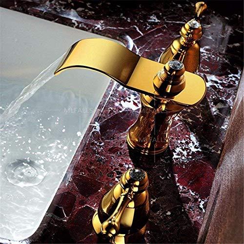 SCLL - Grifo de lavabo de titanio, doble mango de bronce antiguo, tres válvulas de cerámica con agujero para grifo de agua caliente y fría, grifo de baño, tres grifos de lavabo, bañera, grifo mezclador, lavabo, bañera, etc.