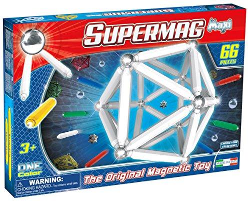 Supermag Toys- 0123–Maxi One Color Juegos de construcción magnético (66piezas), colores surtidos
