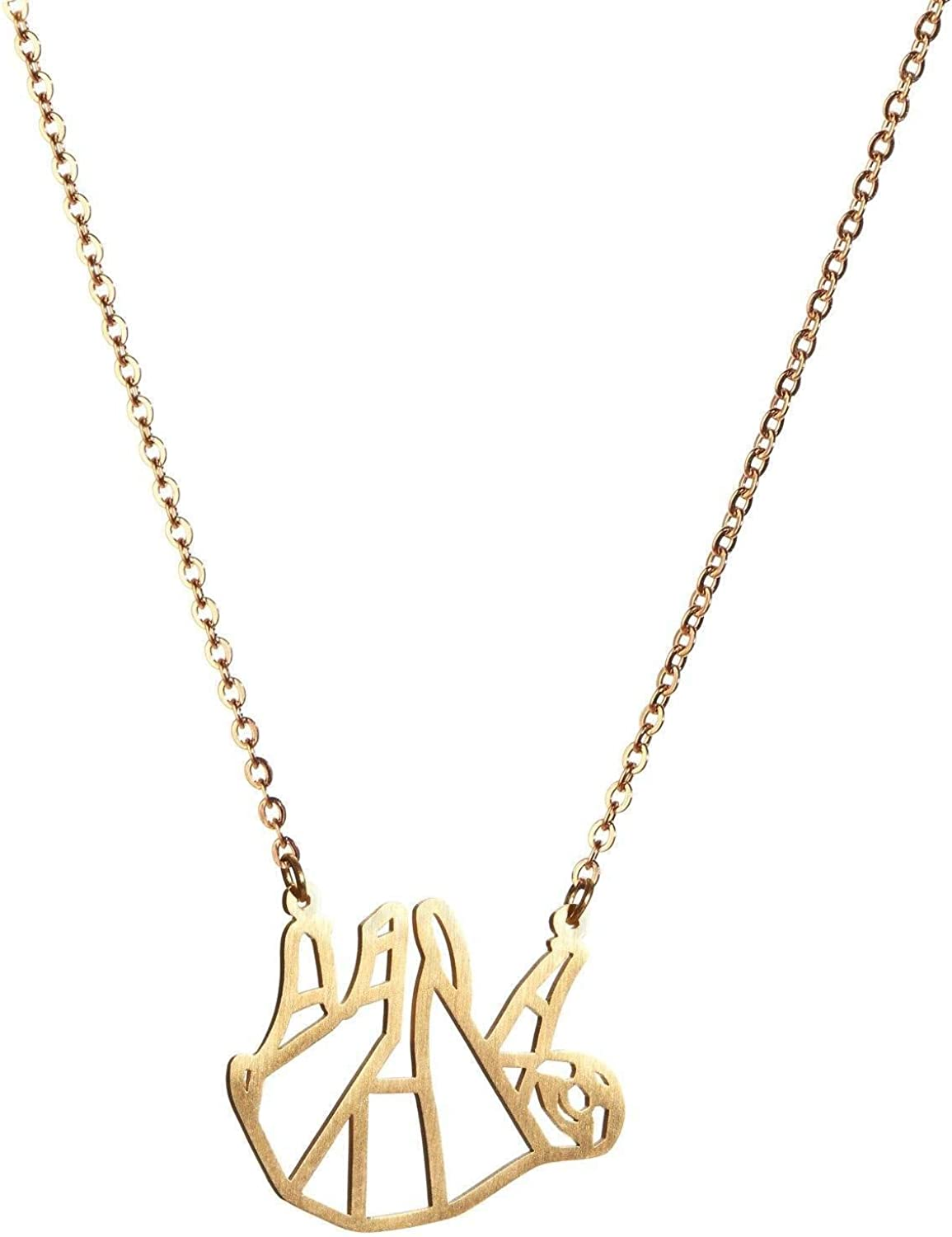La Menagerie Sloth Gold Origami Jewellery - Gold Geometric Chain Necklace – 18 Karat Plated Gold Necklace for Women & Girls – Stylish Sloth Pendant Necklace