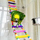 Rabi Bird Swings, 12 Stair Ladder Wooden Budgie Toys Pet Bird Cage Hammock Swing Hanging Toy for Parakeets Cockatiels, Conures, Macaws, Parrots, Love Birds, Finches (Bird Ladders)