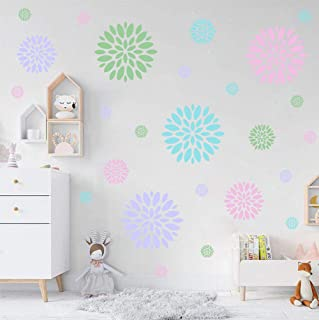 IARTTOP Blooming Flower Wall Decal, Attractive Fireworks Pattern Sticker for Holiday Decoration, Great Circle Window Cling Decor and Girls Bedroom Decor (28pcs Multicolor Decals)