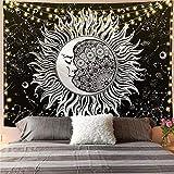 KHKJ Mandala Blanco Negro Sol y Luna Tapiz Colgante de Pared Tapices de chismes Alfombras de Pared Hippie Decoración de Dormitorio Manta Decoración para el hogar A10 200x150cm