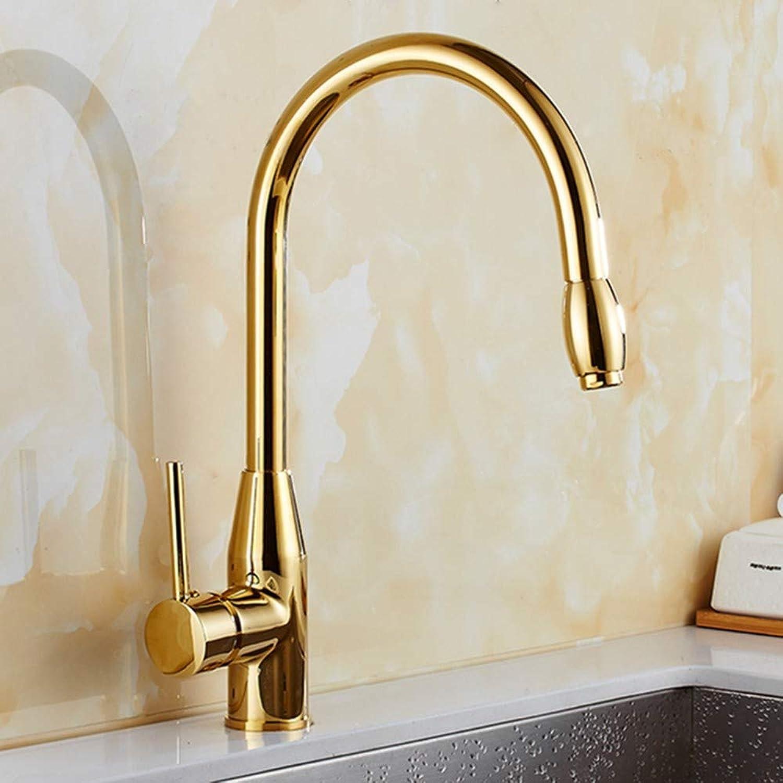 FZHLR Ausziehbarer Küchenarmatur Gold 360 Grad Drehbare Küchenspüle Wasserhahn Mischbatterie Küchenarmatur Waschtisch Kalt Warmwasserhahn Anzapfung Cozinha, Golden