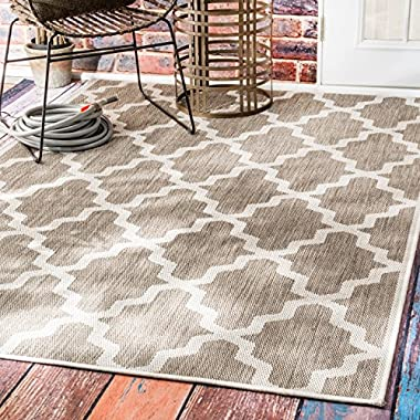 nuLOOM Dawn Collection Trellis Outdoor Contemporary Machine Made Area Rug, 5-Feet 3-Inch by 7-Feet 9-Inch, Taupe