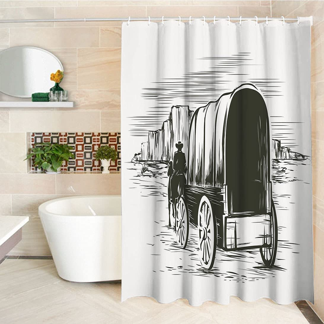 Vintage Shower Curtains free shipping Old latest Traditional Wild Prairie Wagon West