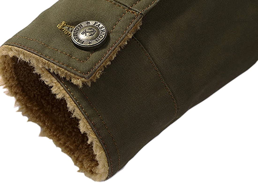 Zhusheng Men's Winter Thick Fleece Jacket Button Down Sherpa Trucker Jacket Fur Collar Warm Coat