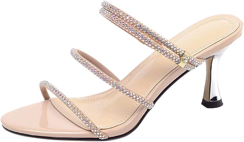 AIYOUMEI Stiletto High Heels Sandalen Leder Pantoletten Damen mit Strass Sommer Pantoffeln Offen