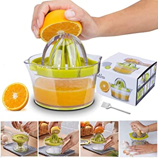 Yoyika 4 en 1 Exprimidor Zumo Manual, Exprimidor de Mano Portátil para Naranja Limón Lima y Cítricos, Rallador de Ajo/Jeng...