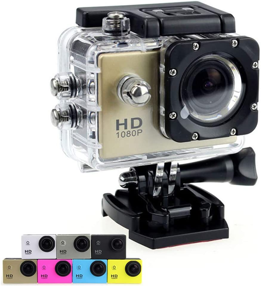 Sports Action Camera 1080P Ultra HD 12MP Underwater Waterproof DV Camcorder 170 Degree Wide Angle and Mounting Accessory Kits (Gold)