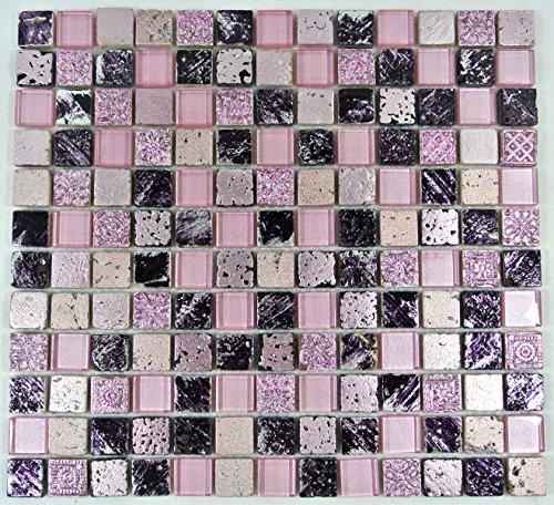 Piastrelle Mosaico Vetro Mosaico Bad tessere di mosaico Crystal Pietra Mix Pink 8mm nuovo # 504