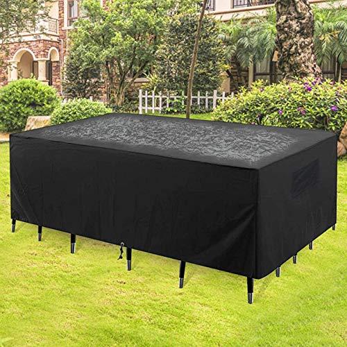 Ydq Housse pour Table D'extérieur avec 4 Sangles À Boucles Tissu Oxford 420D Imperméable Coupe-Vent Anti-UV Anti-Déchirure Rectangulaire Housses De Meubles De Jardin