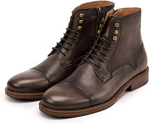 Qiusa botas Chukka con Cordones para Hombre Botines clásicos de Cuero Genuino Duradero (Color   marrón, tamaño   EU 40)