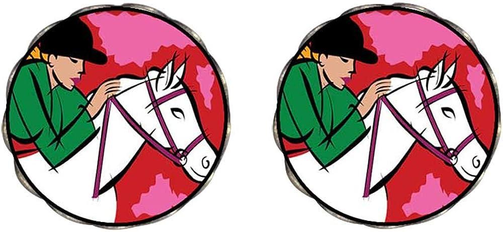 GiftJewelryShop Bronze Retro Style Hobbies Ride Horse Photo Clip On Earrings Flower Earrings #12