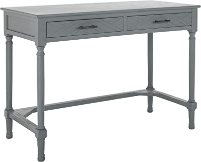 SAFAVIEH Home Collection Mckinlee Taupe 2-Drawer Computer Table Office Desk DSK5705B, Distressed Grey