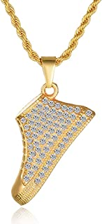 14K Gold Hiphop Shoe Pendant Necklace,Punk Style Sports Rock Necklace for Men Women Girl Boy Personalised Fashion Sport Ne...