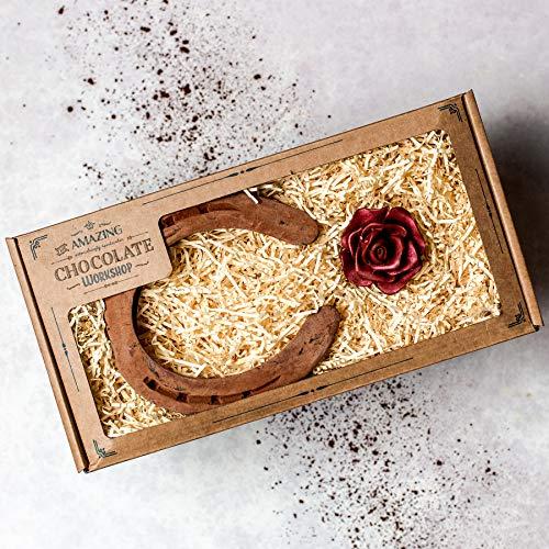 Schokoladenblume & Hufeisen Geschenkbox - Realistische vegane Handwerker handgemachte Pferdeliebhaber Hufschmiede Weihnachtsgeschenk Feier Set Danke