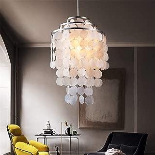 Pendant Light Kit Modern Nordic White Natural Seashell Hanging Pendant Lamp Fixture E14 LED Lights for Home Deco Bedroom Living Room Restaurant (Color : Warm White-AC 110V)