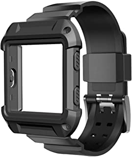 Fitbit Blaze Accessory, UMTELE [Rugged Pro] Resilient Protective Case with Strap Bands for Fitbit Blaze Smart Fitness Watch (Black)