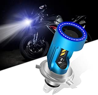 KaiDengZhe H4 HS1 LED Motorcycle Headlight Bulb with Blue Angel Eye 9003 HS1 High/Low LED Headlamp 12V 2600LM Replacement ...