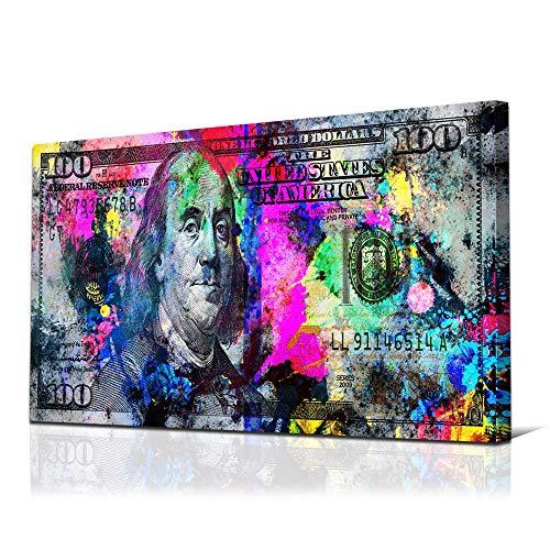 JUSTBR 100 Dollars Bill Wall Art Canvas Print Office Decor Money Inspirational Wall Art Money Pop Art Entrepreneur Motivational 100 Bill Cash Benjamin Franklin Dollar Home Living Room Decor 24'X48'