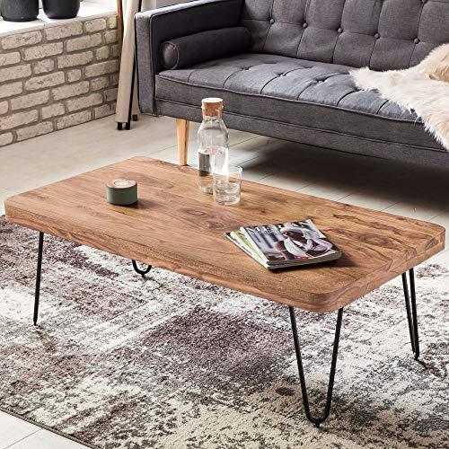 Couchtisch Lira Akazie Massivholz Edelstahlgestell schwarz braun 115 x 40 x 60 cm Wohnzimmertisch Wohnzimmercouchtisch Beistelltisch Anstelltisch