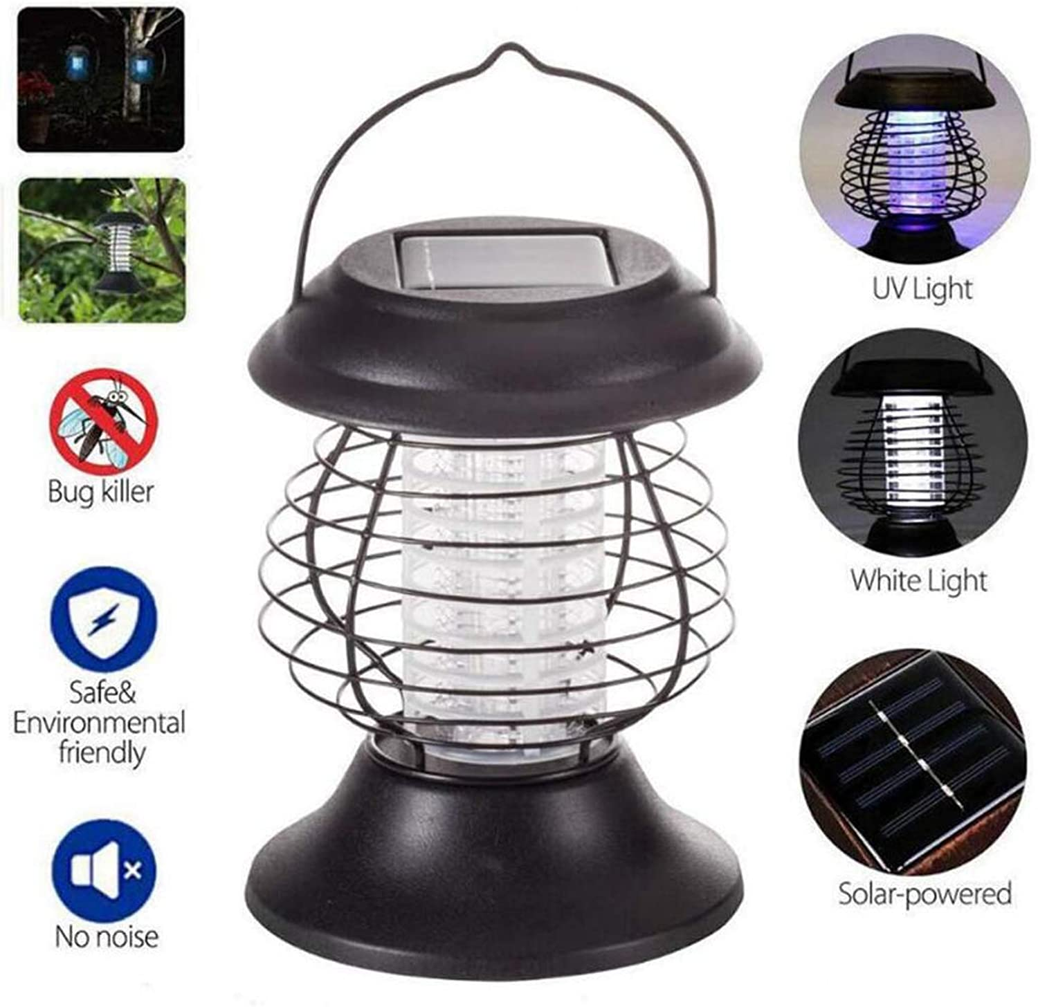 Bug ZapperElectronic Insect Killer,Waterproof Solar Mosquito Killer lamp with Hook, Mosquito Bug Trap Lamp,Mosquito Zapper,Patio Garden Villa Outdoor Camping