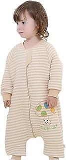 Ropa de Dormir Bebés Unisex de Algodón Orgánico, de Piernas Separadas Romper de Rayas con Patrón de mono ,Sacos de dormir para la Primavera, Otoño e Invierno