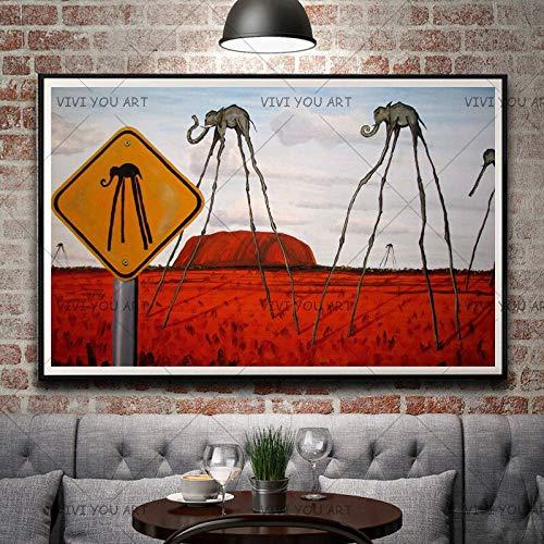 wZUN Última Pintura al óleo de Dali Elefante Abstracto decoración del hogar Sala de Estar Pintura de Lienzo Animal 60x90 Sin Marco