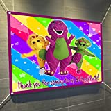 Barney Purple Dinosaur Large Vinyl Indoor or Outdoor Banner Sign Poster Backdrop, Party Favor Decoration, 30' x 24', 2.5' x 2'