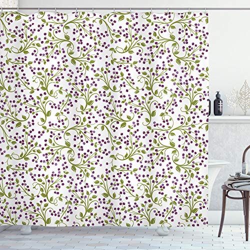 ABAKUHAUS Flor Cortina de Baño, Wild Bayas Botanical, Material Resistente al Agua Durable Estampa Digital, 175 x 200 cm, Púrpura Verde Blanco