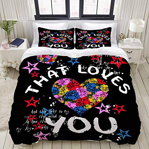 Rorun DuvetCoverSet, Slogan Schönes Grafikdesign Süße Blumen, ColourfulDecorative3PieceBeddingSetwith2PillowShams
