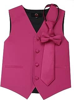 Brand Q Boy's Tuxedo Vest, Zipper Tie & Bow-Tie Set in Fuschia