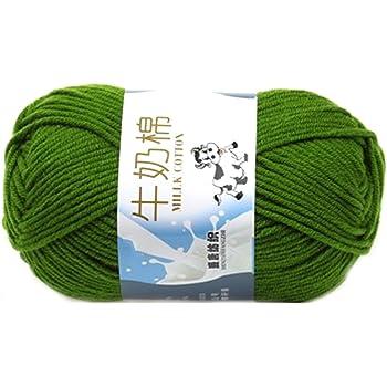 Suave Suave Leche de algodón natural de la mano de tejer lana de lana bola del hilado del bebé Craft-verde: Amazon.es: Hogar