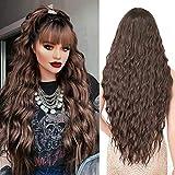 Pelucas Marrón oscuro larga mujer con flequillo pelo natural largo ondulada, YEESHEDO peluca de pelo largo suelto y rizada, wavy dark brown wig para mujeres y niñas 28'