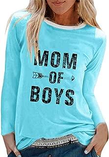 HebeTop Mom of Boys Letter Print T-Shirt Women Long Sleeve O Neck Tops Tee