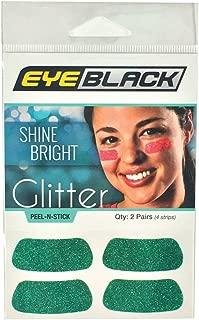EyeBlack Green Softball Glitter Eye Black Strips, 2 Pair