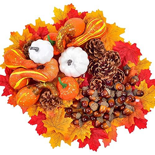 LYEAA Decoración de Acción de Gracias, 120 calabazas de plástico, hojas de arce artificial, bellotas, conos de pino y calabazas para otoño, otoño y Halloween, decoración de fiesta en el hogar
