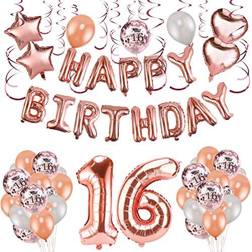 HOWAF Decoración de cumpleaños 16 en Oro Rosa, 59 Piezas Feliz cumpleaños Decoración Globos Guirnalda Banner 16 Años Globos de Confeti y Estrella Corazon Globos de Aluminio para niñas y Chica