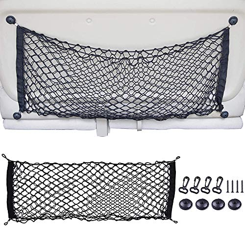 Riwful Cargo Net Hammock Trunk Mesh Organizer Vehicle Storage with 4 Adjustable Hook Black