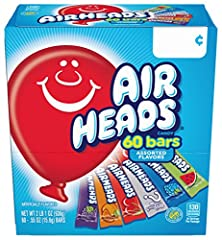 Unwrap the fun and play delicious with a box full of only your favorite Airheads flavor Perfect treat size and easy to share. Stock up your pantry or use Airheads bulk candy for holidays, event party favors, office treats, concession stands, kids' pa...