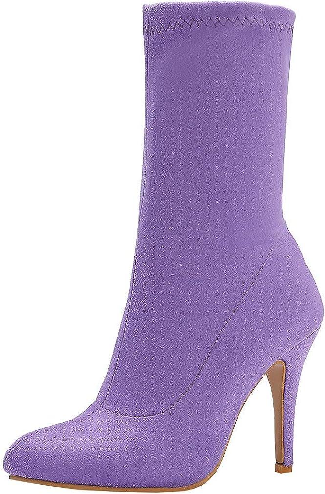 Parisuit 即日出荷 Women's Slip On Stretch Sock High Booties St Style Heel 情熱セール