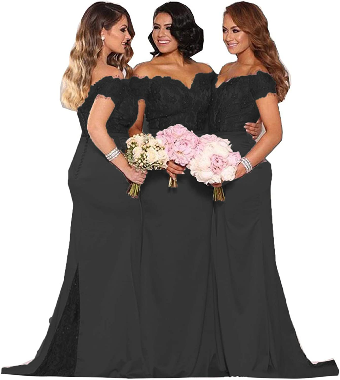 Fanciest Women's Lace Bridesmaid Dresses Long 2020 Formal Mermaid Maid of Honor Gowns