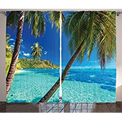 Ambesonne Ocean Curtains, Image of a Tropical Island with The Palm Trees and Clear Sea Beach Theme Print, Living Room Bedroom Window Drapes 2 Panel Set, 108 X 63, Turquoise Blue