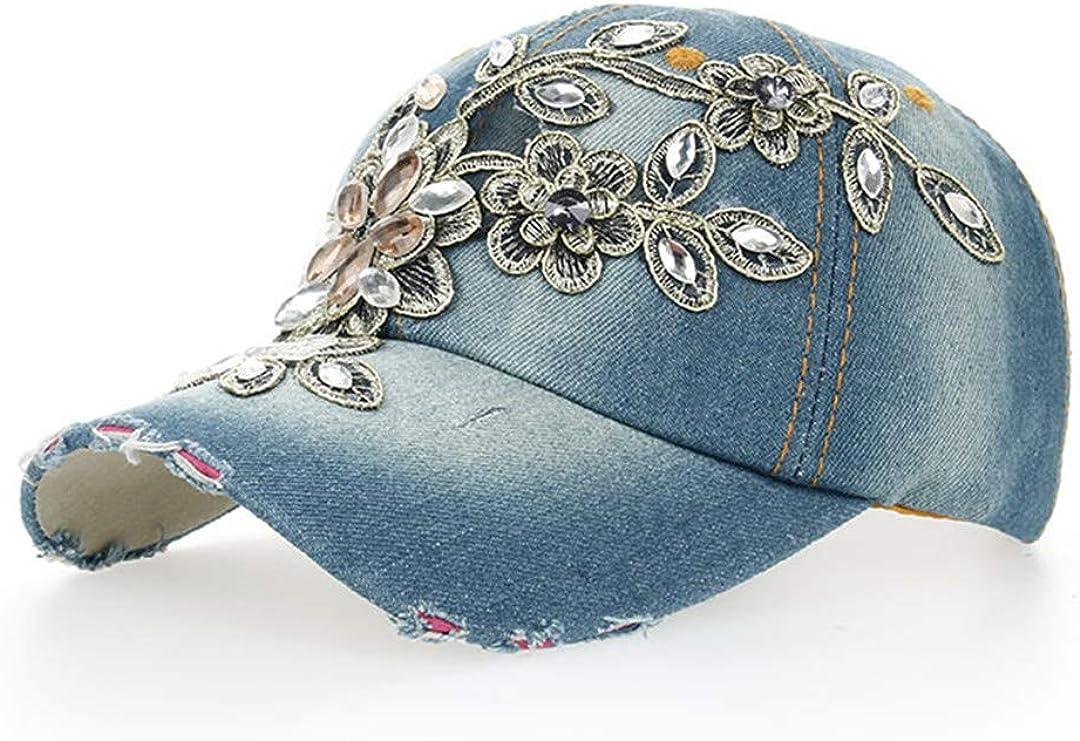 BAIELFES Adjustable Baseball Cap Leisure Rhinestones Flowers Jean Snapback Baseball Hat