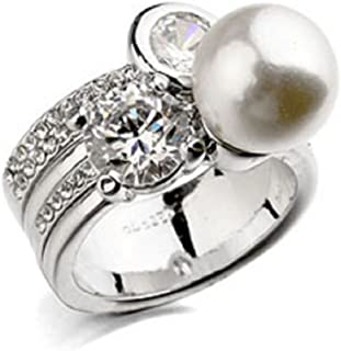 JNA Collection Signature Gift 18K White Gold Plated White Simulated Pearl Cubic Zirconia CZ Engagement Wedding Fashion Rin...