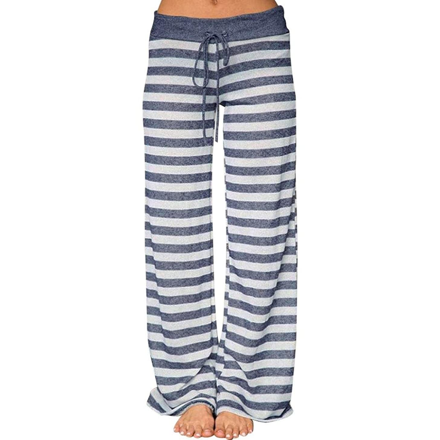 GoodLock Women Fashion Wide Leg Pants Ladies Summer Floral Prints Drawstring Wide Leg Pants Leggings
